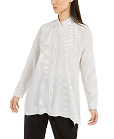 Striped Button-Up Silk Shirt, Regular & Petite Sizes