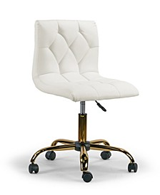 Aman Cream Upholstered Adjustable Height Swivel Office Chair with Frame Wheel Base