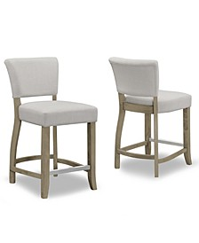 Set of 2 Aleck Fabric Counter Stool with Antique Finish Wood Legs