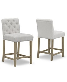 Set of 2 Alee Fabric Counter Stool with Tufted Buttons and Wood Legs