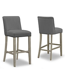 Set of 2 Aleco Fabric Bar Stool with Metal Nail Head Accents