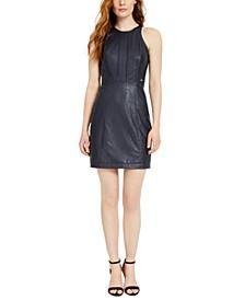 Faux-Leather Mini Dress