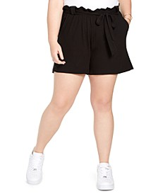 Trendy Plus Size Paperbag Shorts