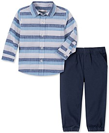 Baby Boys 2-Pc. Yarn-Dyed Stripe Shirt & Navy Blue Twill Pants Set