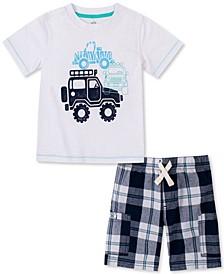 Baby Boys 2-Pc. Textured Jeep T-Shirt & Yarn-Dyed Plaid Shorts Set