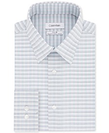 Calvin Klein Men's Steel+ Classic/Regular-Fit Non-Iron Performance Stretch Blue Multi-Check Dress Shirt