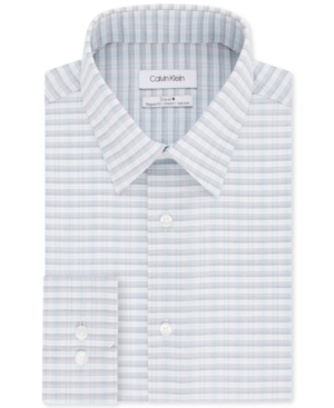 Calvin Klein MEN'S STEEL+ CLASSIC/REGULAR-FIT NON-IRON PERFORMANCE STRETCH BLUE MULTI-CHECK DRESS SHIRT