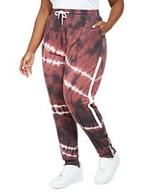 Trendy Plus Size Tie-Dyed Slim Jogger Pants