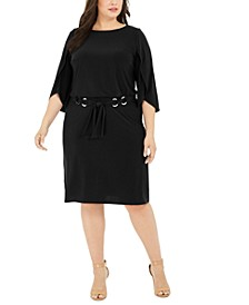 Plus Size Belted Tulip-Sleeve Dress