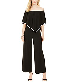 Petite Off-The-Shoulder Overlay Jumpsuit