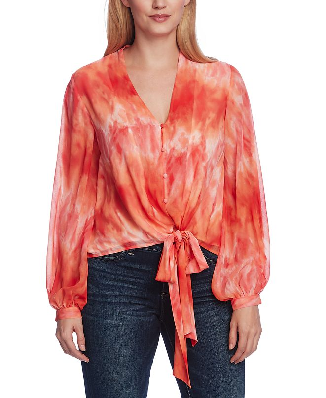 Vince Camuto Printed Tie-Waist Blouse
