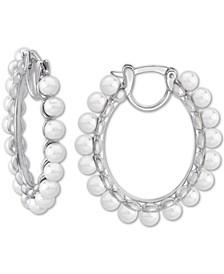 """Sterling Silver Medium Imitation Pearl Hoop Earrings, 1.25"""""""