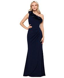 XSCAPE Floral-Appliqué One-Shoulder Gown
