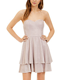 B Darlin Juniors' Glitter-Knit Strapless Fit & Flare Dress