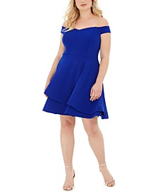 Trendy Plus Size Off-The-Shoulder A-Line Dress