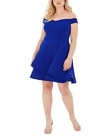 Trendy Plus Size Off-The-Shoulder A-Line Dress
