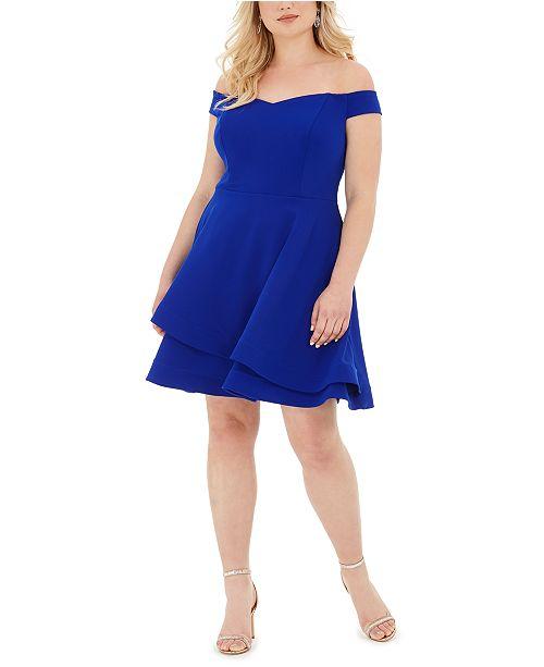 B Darlin Trendy Plus Size Off-The-Shoulder A-Line Dress