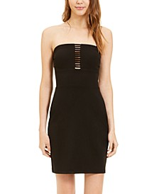 Juniors' Lattice-Front Bodycon Dress