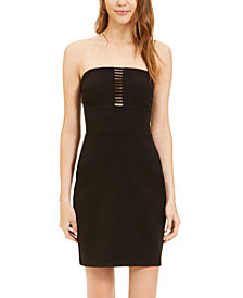B Darlin Juniors' Lattice-Front Bodycon Dress