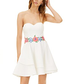 Juniors' Strapless Embroidered Fit & Flare Dress