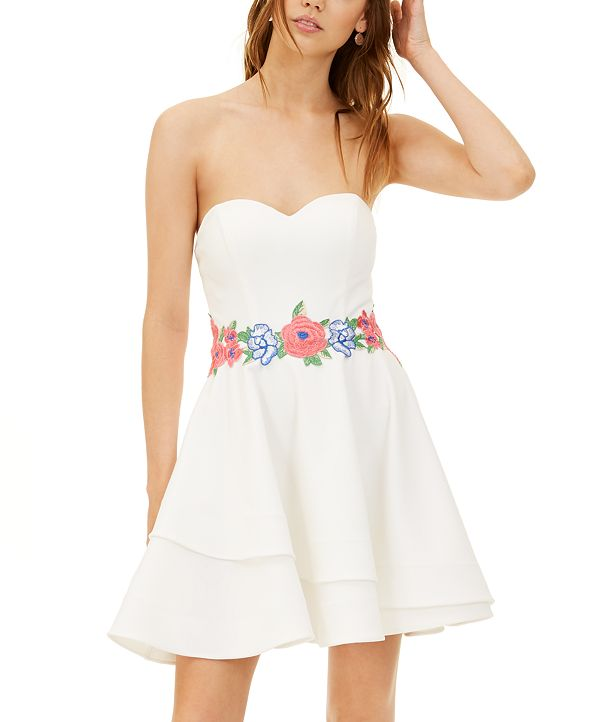 B Darlin Juniors' Strapless Embroidered Fit & Flare Dress
