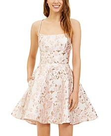 Juniors' Lace-Up A-Line Dress