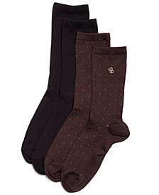 Lauren Ralph Lauren Women's Pindot Super Soft Trouser 2 Pack Socks