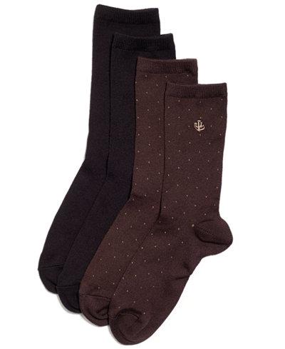Lauren Ralph Lauren Women s Pindot Super Soft Trouser 2 Pack Socks ... b79b89bc8