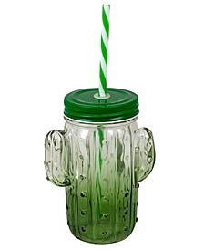 HDS TRADING CORP Cactus Glass Mason Jar with Removable Food-Grade Plastic Straw