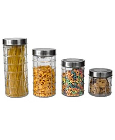 HDS TRADING CORP Chex 4 Piece Glass Canister Set with Stainless Steel Lids