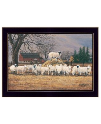 Wool Gathering by Bonnie Mohr, Ready to hang Framed Print, Black Frame, 20