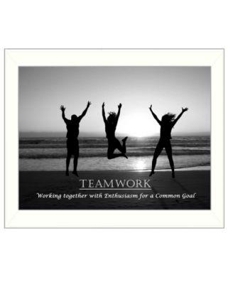 Teamwork By Trendy Decor4U, Printed Wall Art, Ready to hang, White Frame, 14