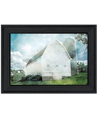 White Barn by Bluebird Barn, Ready to hang Framed Print, White Frame, 19
