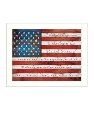 Pledge of Allegiance By Marla Rae, Printed Wall Art, Ready to hang, White Frame, 26