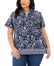 Plus Size Printed Short-Sleeve Shirt, Created for Macy's
