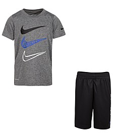 Little Boys 2-Pc. Dri-FIT Swoosh T-Shirt & Shorts Set