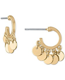 Gold-Tone Shaky Disc Huggie Hoop Earrings