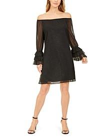 Off-The-Shoulder Glitter Dress