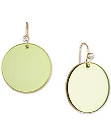 Gold-Tone Green Disc Drop Earrings