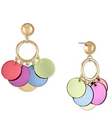 Gold-Tone Multicolor Shaky Disc Drop Earrings