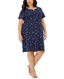 Plus Size Sailboat-Print Lace-Up Dress, Created for Macy's