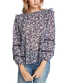 Trendy Plus Size Floral-Print Lace-Inset Top