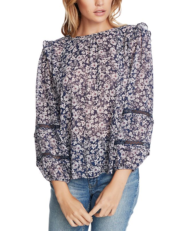 1.STATE Trendy Plus Size Floral-Print Lace-Inset Top