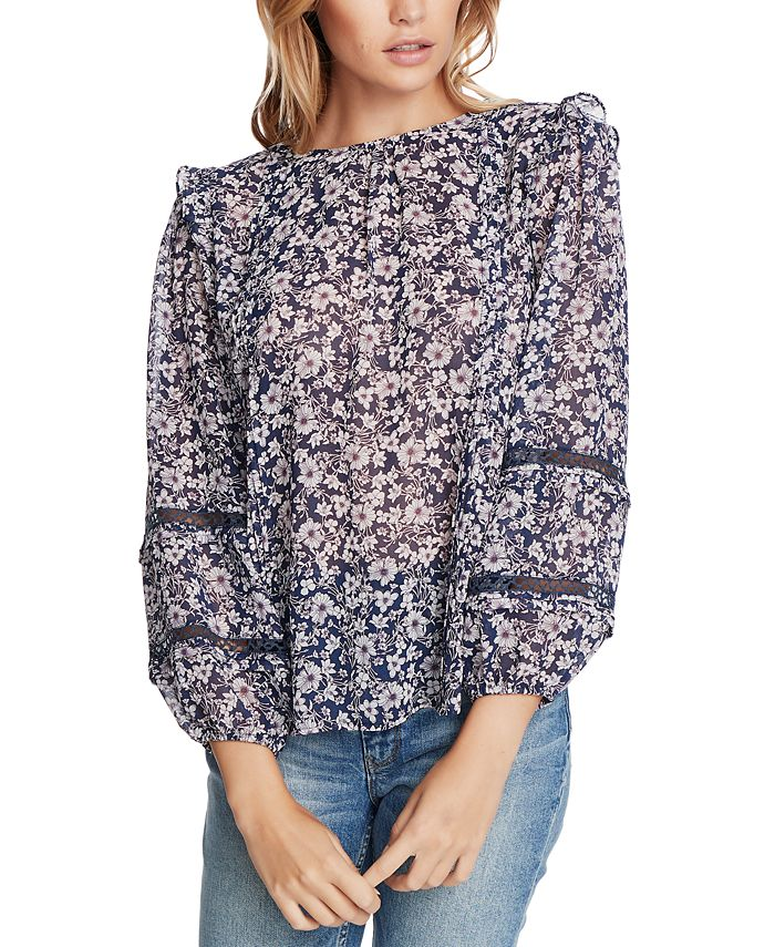 1.STATE - Plus Size Floral-Print Lace-Inset Top