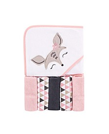 Baby Girls and Boys Deer Hooded Towel with 5 Washcloths, Pack of 6