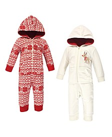 Baby Girls and Boys Reindeer Fleece Coveralls and Playsuits Jumpsuits, Pack of 2