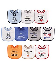 Baby Boys Holiday Boys Onederful Terry Drooler Bibs with Fiber Filling, Pack of 10