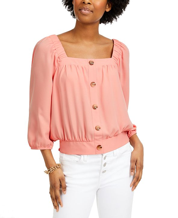 BCX Juniors' Embellished Square-Neck Top