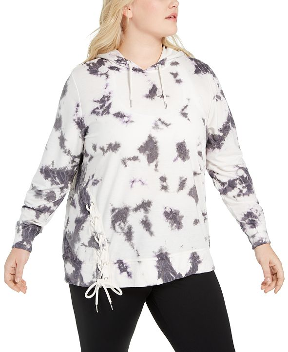 Ideology Plus Size Tie-Dyed Side-Lace Hoodie, Created for Macy's