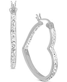 Crystal Heart Hoop Earrings in Fine Silver Plate